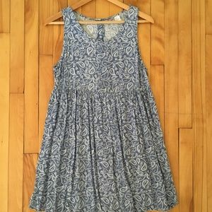 Blue and White Paisley Babydoll Swing Dress 6